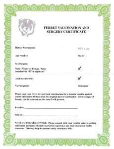 ホールデン予防接種保証書